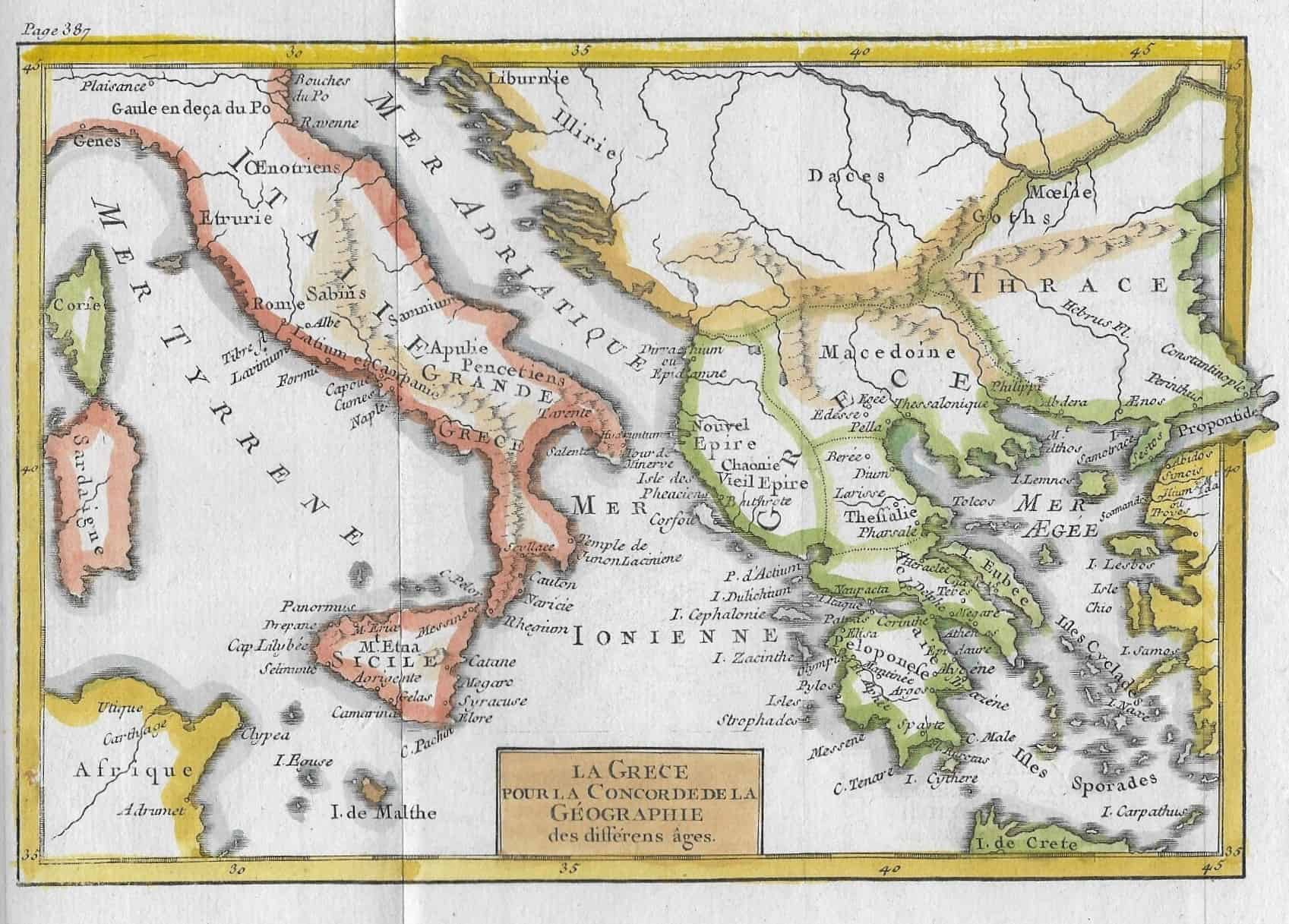 Map Of Italy Greece And Turkey.1535 Italy And Greece Ancient 1785 Circle 7 Framing