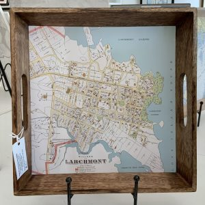"14"" square tray with image of an 1893 map of Larchmont Village"